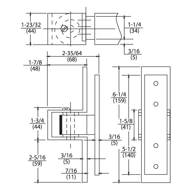 Rixson F519 Dimensions.