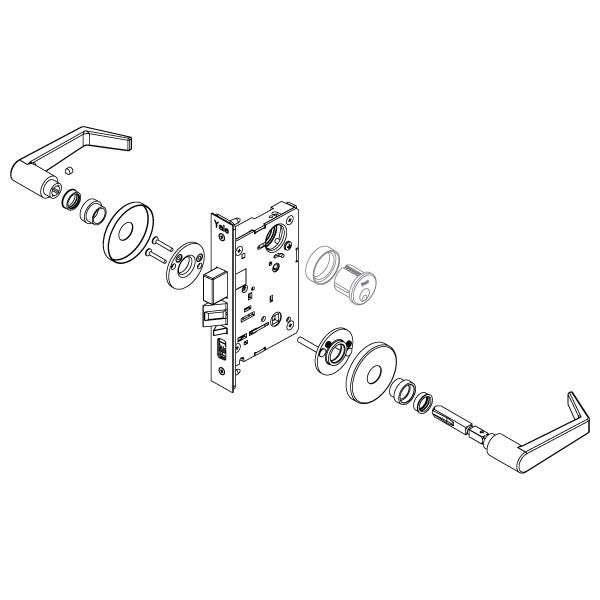 Yale 8801fl Mortise Lockset W Rose Trim Passage F01