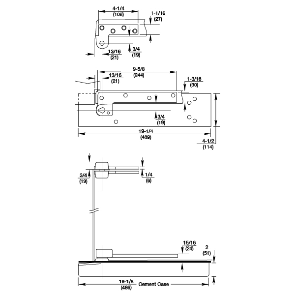 5103 3 4 Offset Hung Thin Slab Floor Closer Package By