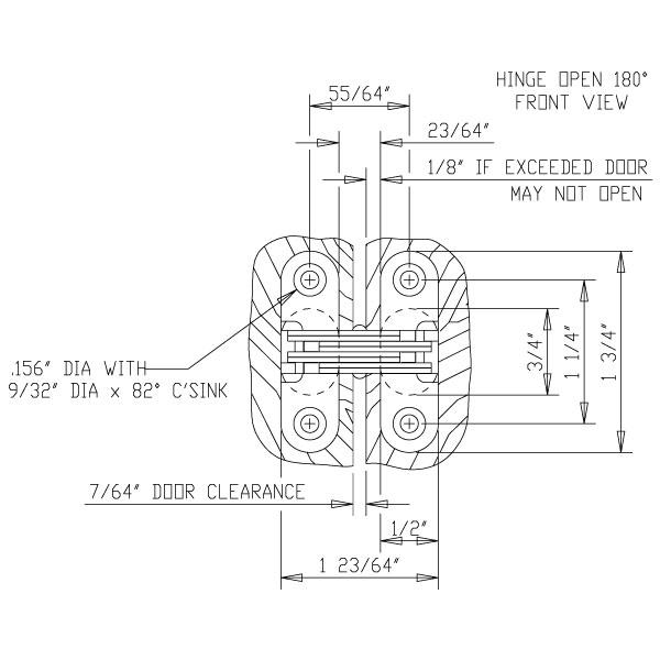 203 cunp Soss 203 Zinc invisible charnière avec trous pour bois ou métal Applications