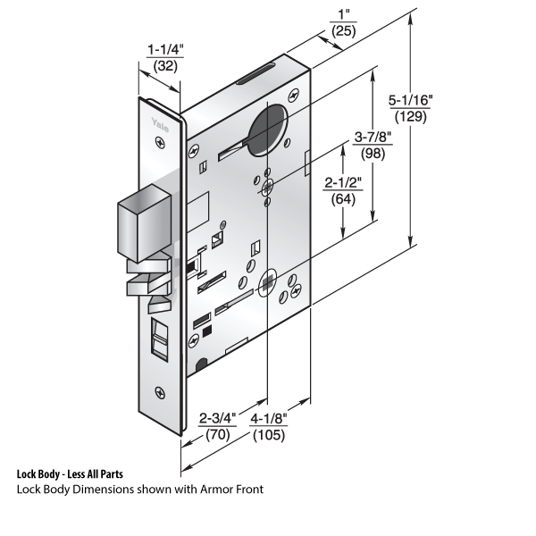 Lbdy8864fl Mortise Lock Body  Indicator By