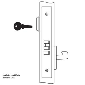 8833FL Mortise Lock Body