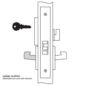 8864FL Mortise Lock Body